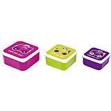 Контейнеры для еды 3 шт, розовый, фиолетовый, зеленый