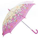 Зонт-трость, детский, розово-желтый, со светодиодами