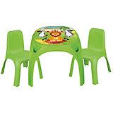 Стол с двумя стульями для детей King, PILSAN, зеленый