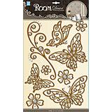 Наклейка Бабочки (металик) POA5801, Room Decor, коричневый