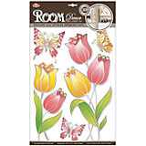 Наклейка Тюльпаны витраж POA8811, Room Decor