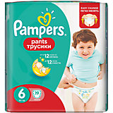 Трусики Pampers Pants Extra Large, 16кг+, размер 6, 19 шт., Pampers