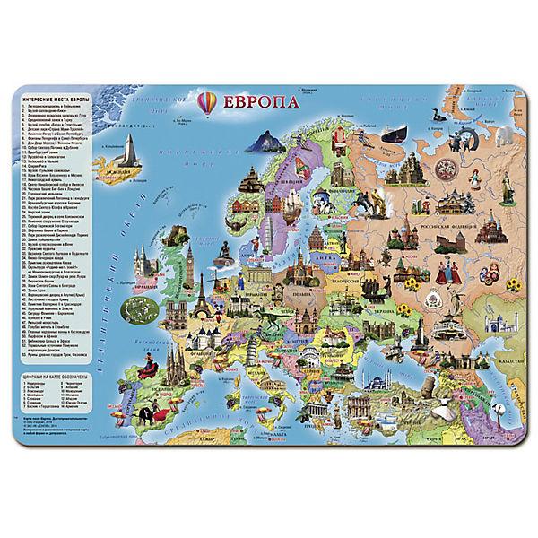 """Карта-пазл """"Европа. Достопримечательности"""", 260 деталей"""