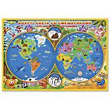 """Карта мира для малышей """"Вокруг света со Смешариками"""""""