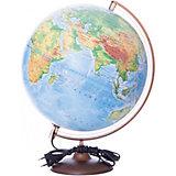 Глобус Земли физический с подсветкой, диаметр 320 мм