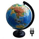Глобус Земли физический рельефный с подсветкой, диаметр 320 мм