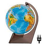 Глобус Земли физический на треугольнике с подсветкой, диаметр 210 мм
