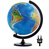 Глобус Земли «Двойная карта» рельефный с подсветкой, диаметр 320 мм
