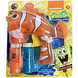 Мыльные пузыри Губка Боб,Пистолет с мыльными  пузырями, со светом,+ 2 бут. по 50 мл, 1Toy