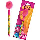 Ручка синяя шариковая с перьями, Trolls