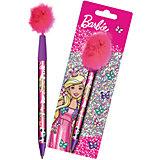 Ручка синяя шариковая с перьями Barbie, Mattel