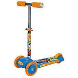 Трехколесный самокат Road Racing, Next, голубой, оранжевый