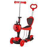 Самокат-кикборд детский трансформер Disco-kids, 40 кг, красный, Novatrack