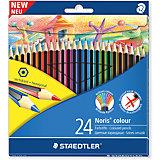 Карандаш цветной Noris Colour, набор 24 цвета, Wopex