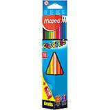 Карандаши цветные COLOR'PEPS, треугольные+точилка, 12 цветов, MAPED