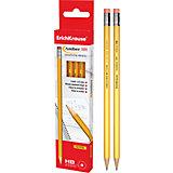 Чернографитный карандаш AMBER 101 (HB) шестигранный с ластиком, 12 шт., Erich Krause