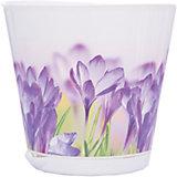 Горшок для цветов Крит D 160 mm с системой прикорневого полива 1,8 л с декором, INGREEN