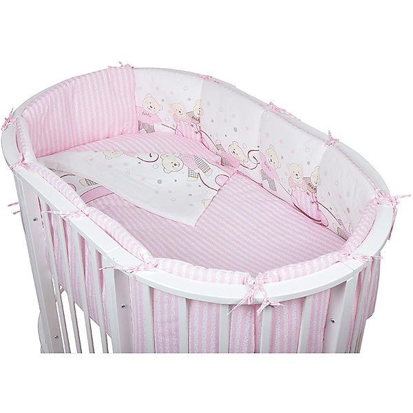 Постельное белье для овальной кроватки Мишки, 6 пред., Pituso, розовый