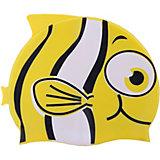 """Шапочка для плавания силиконовая """"Рыбка"""", желтая, Dobest"""