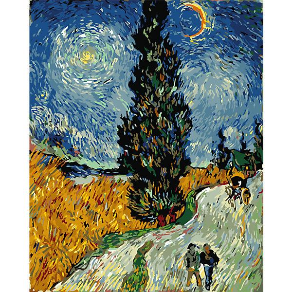 """Роспись по номерам """"Кипарисы на фоне звездного неба"""" Ван Гог, 40*50 см"""