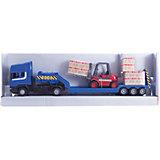 """Машинка """"Scania"""" с погрузчиком на платформе 1:48, Autotime"""