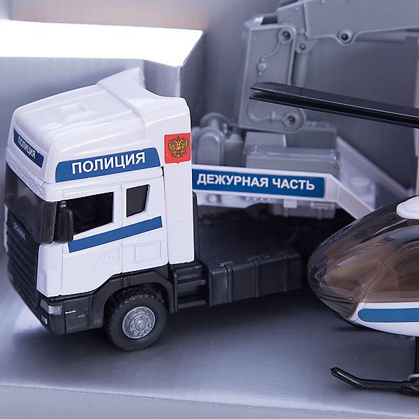 "Машинка ""Scania"" полиция база на платформе с вертолетом, звук, свет 1:48, Autotime"