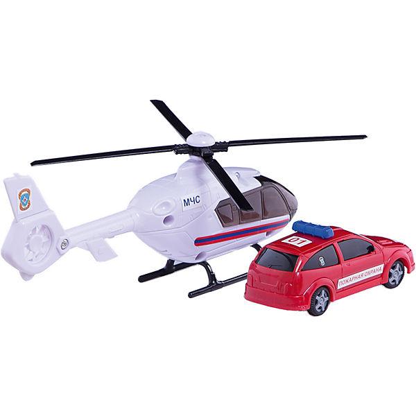 """Машинка """"Air Emerg.Team"""" пожарная c вертолетом, звук,свет 1:48, Autotime"""