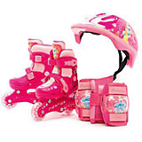 Набор: ролики раздвижные, защита, шлем, Принцессы Дисней, р28-31, Next