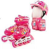 Набор: ролики раздвижные, защита, шлем, Принцессы Дисней, р30-33, Next