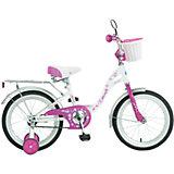 Велосипед BUTTERFLY, бело-розовый, 16 дюймов, Novatrack
