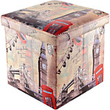 """Пуф складной с ящиком для хранения 35*35*35 см. """"Лондон Биг Бен"""", EL Casa"""