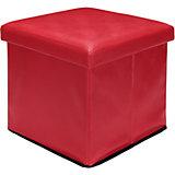 """Пуф складной с ящиком для хранения 35*35*35 см. """"Красный"""", EL Casa"""