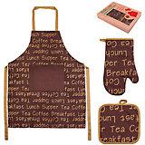"""Набор: фартук, прихватка, рукавичка """"Чай-кофе"""", EL Casa"""