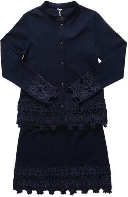 Комплект: пиджак и юбка для девочки Luminoso - синий