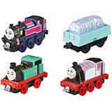 Набор из 3-х паровозиков с вагончиком, Томас и его друзья