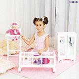 Набор кукольной мебели Стул+люлька+шкаф, белый, PAREMO