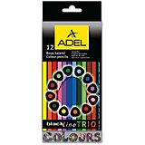 ADEL Карандаши цветные Blackline-PB TRIO трехгранные, 12 цветов.