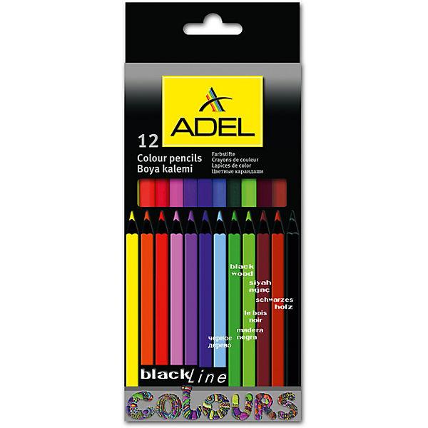 ADEL Карандаши цветные Blackline-PB, шестигранные, 12 цветов.