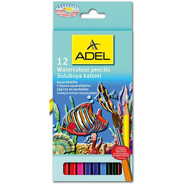 ADEL Карандаши цветные акварельные Aquacolor, 12 цветов + кисточка.