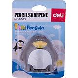 Deli Точилка для карандашей Пингвин, 2 отверстия, цвета в ассортименте.