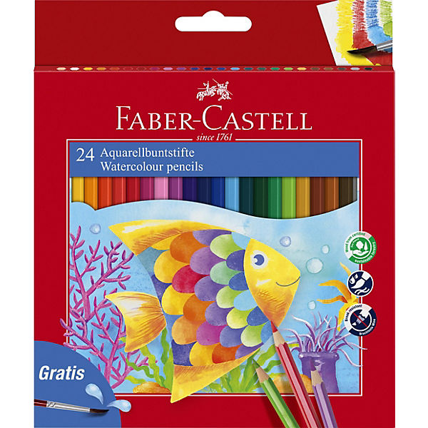 Faber-Castell Карандаши акварельные Colour Pencils с кисточкой, 24 цвета