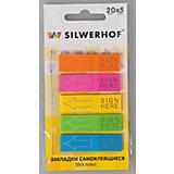 Silwerhof Закладки самоклеящиеся пластиковые SIGN HERE, 5цветов.