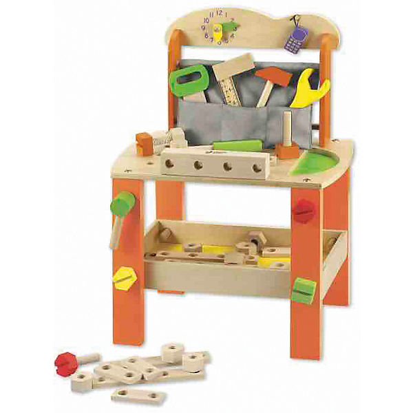 """Игровой стол из дерева с инструментами """"Набор столяра», Classic World"""