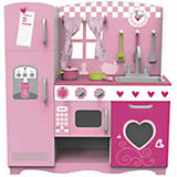 """Деревянная кухня с плитой, мойкой, микроволновкой и холодильником """"Мечта поварёнка"""", Classic World"""