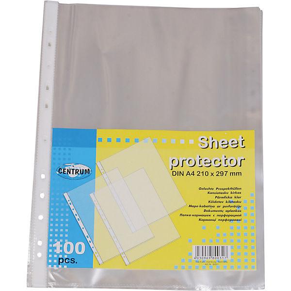 Centrum Папка-кармашек (файл) А4 с перфорацией, 100 штук в упаковке