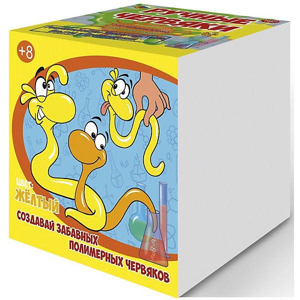 """Набор для опытов """"Цветные полимерные червяки"""", цвет желтый, GOOD FUN"""