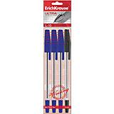 Erich Krause Ручка шариковая ULTRA L-10 в наборе из 4 штук (пакет, 2 синие,черная ,красная)