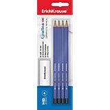 Erich Krause Чернографитный карандаш GRAFICA 100 (НВ) шестигранный, заточенный, в наборе из 3 штук + ластик (блистер)