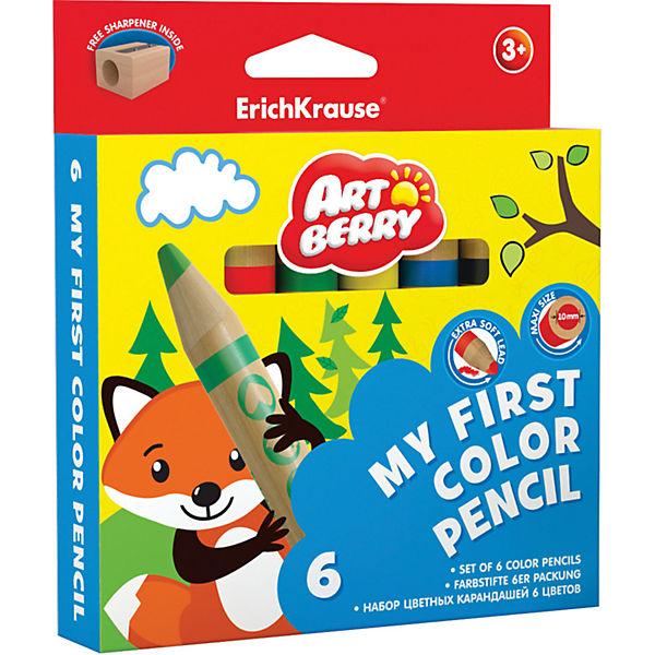 Erich Krause Цветные карандаши ArtBerry My First 6 цветов + точилка