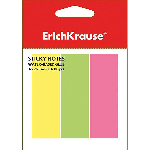Erich Krause Флажки с клеевым краем Erich Krause 3х25х75 неон